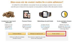 Resiliation offre d'essai 30 jours Amazon Premium Etape 2