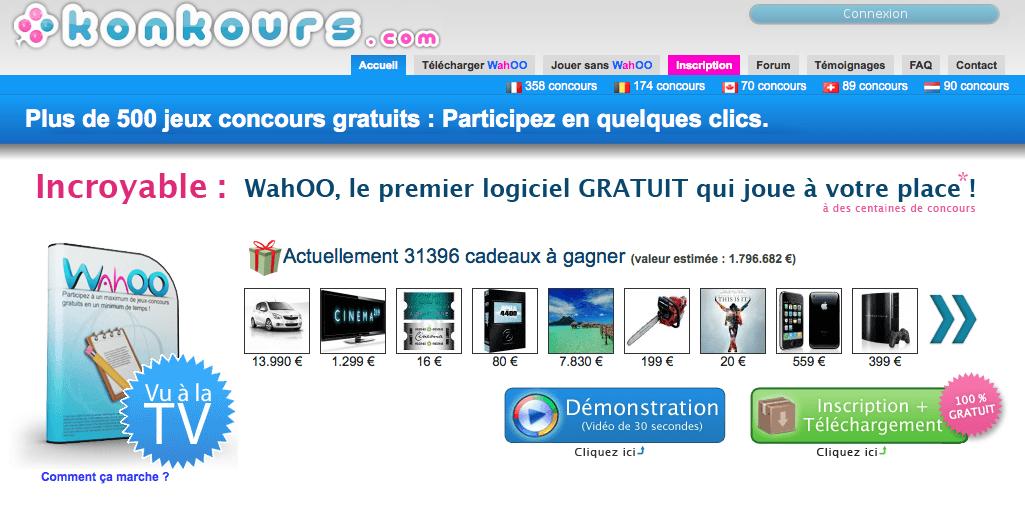 Wahoo, logiciel de concours gratuit